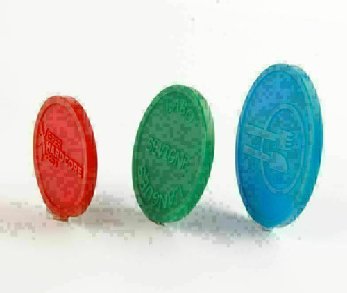 """Plastic Tokens Embossed Round 1.14"""" Qty 7500 Token Examples"""