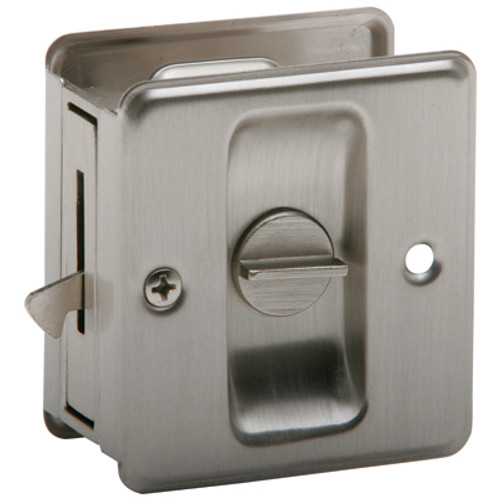 EZ-Set  Privacy  Pocket Door Pull Satin Nickel