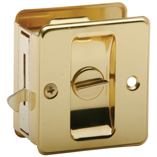 EZ-Set  Privacy  Pocket Door Pull Polished Brass