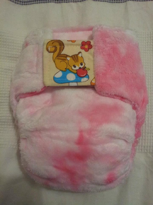 Small Nicnaps - pocket with tie dyed pink bamboo velour inner. No embroidery on back of nappy