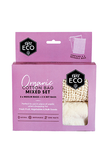 Ever Eco Organic Cotton Mixed Set Reusable Produce Bags - 4pk