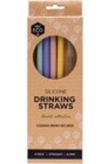 Ever Eco Straight Silicone Straws - 4pk + cleaning brush