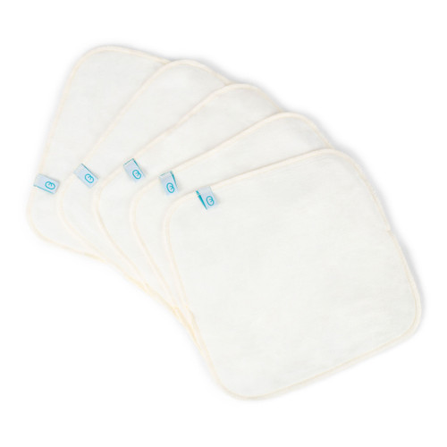 Bubblebubs Bamboo Velour Cloth Wipes - White 5 pack
