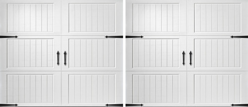 Two (2) 8' x 7' Classica 3000 Cortona - True White Garage Doors
