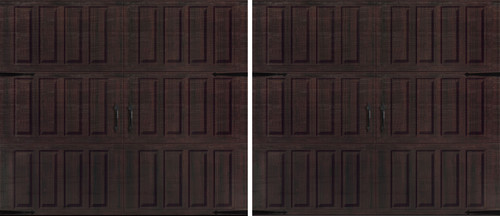 Two (2) 9' x 8' Classica 1000 Raised - Mahogany Garage Doors