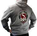 #16716 - FACTORY FIVE '50S STYLE LOGO GRAY HOODIE (PULLOVER)