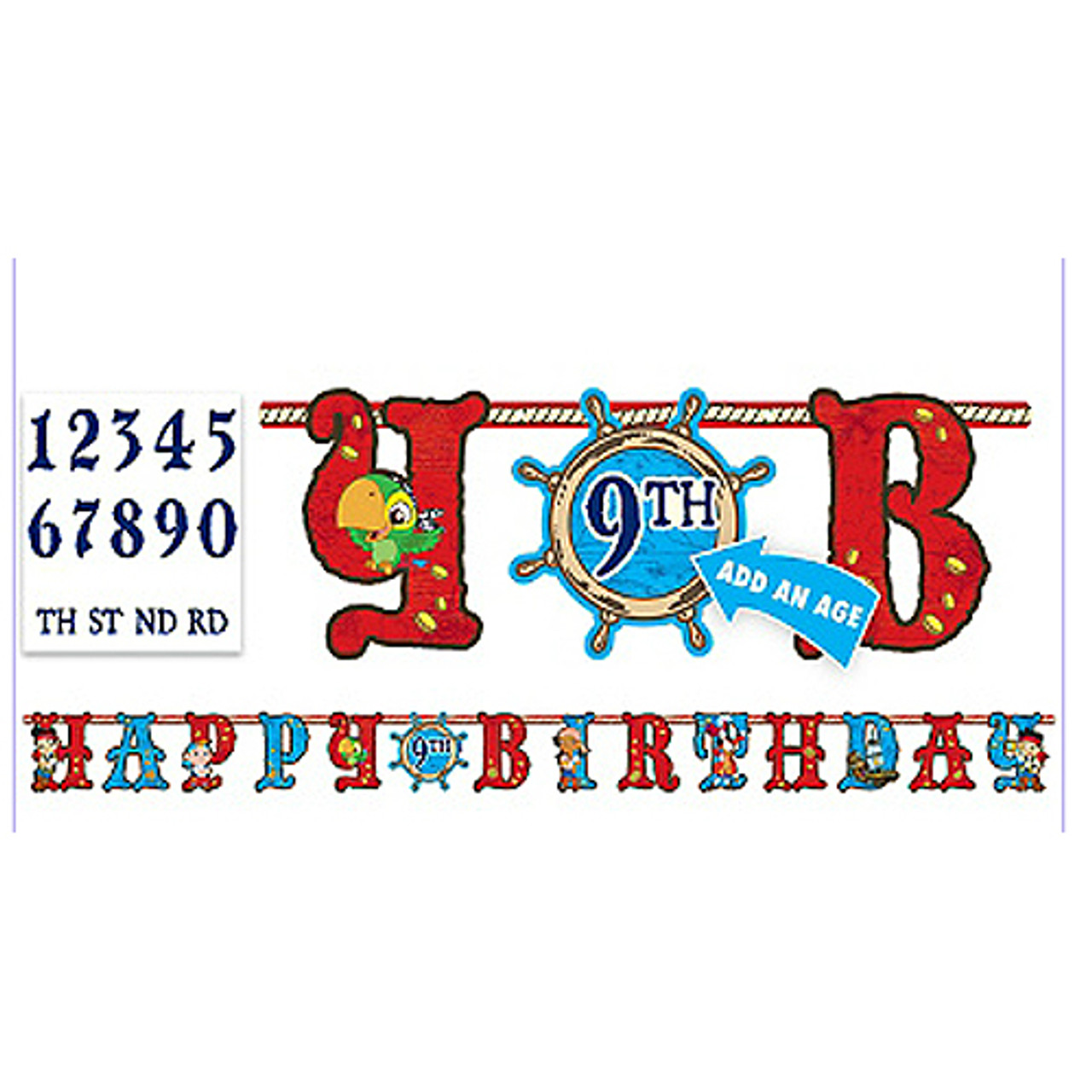 Jake & Never Land Pirates Add An Age Jumbo Letter Banner Kit