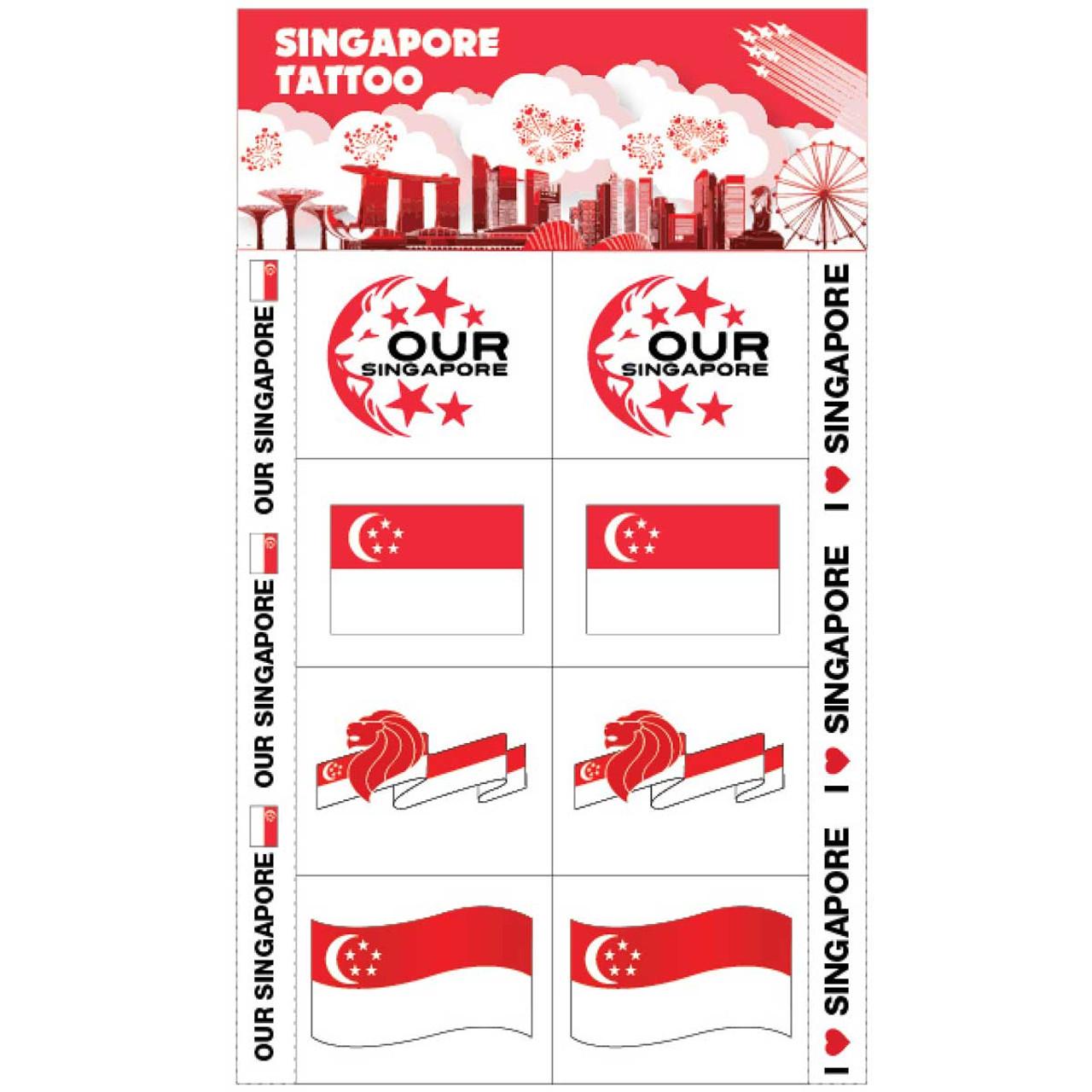 Our Singapore NDP 2019 Flag Tattoo 1 Sheet