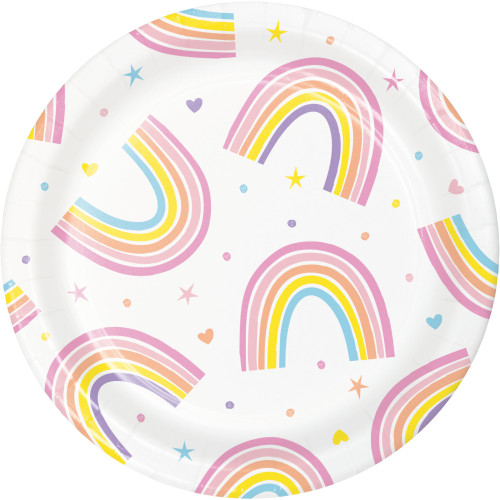 "Happy Rainbow 7"" Lunch Plates"