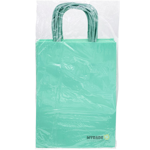 Pastel Green Small Kraft Paper Gift Bag 12pcs/pack