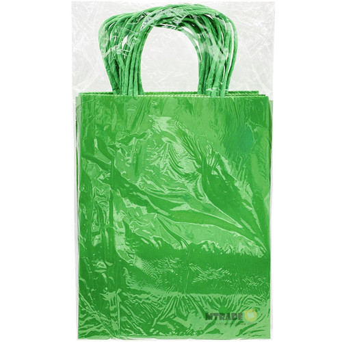 Green Small Kraft Paper Gift Bag 12pcs/pack