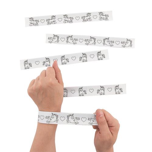 Color Your Own Unicorn Slap Bracelets 48pcs/pack