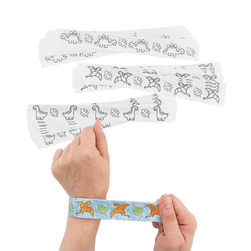 Color Your Own Dinosaur Slap Bracelets 48pcs/pack