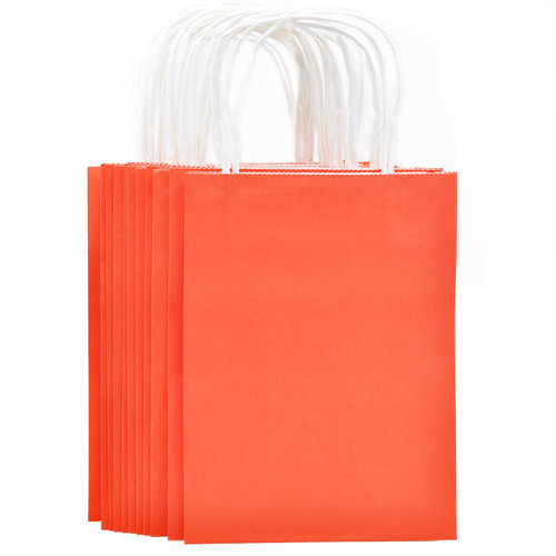 Coral Red Small Kraft Paper Gift Bag