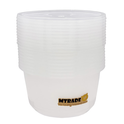 Disposable 840ml Round Food Container with Lid 10 Set/Pack