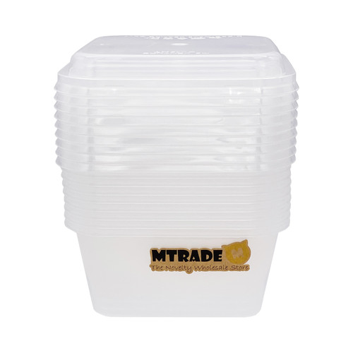 Disposable 420ml Square Plastic Food Container with Lid 10 Set/Pack