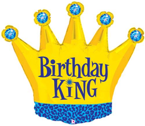 "36"" Birthday King Crown Super Shape Balloon"