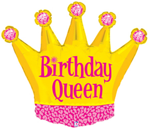 "36"" Birthday Queen Crown Super Shape Balloon"