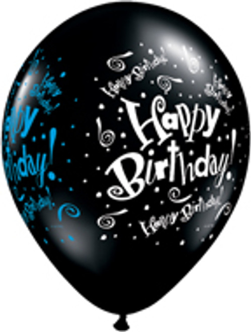 "11"" Birthday Blast Black Latex Balloon"