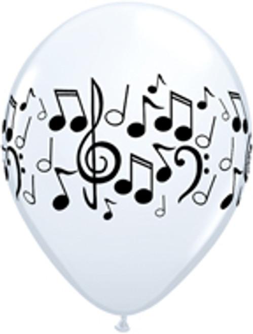 """11"""" Music Note White Latex Balloon"""