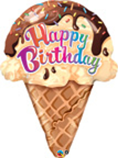 "27"" Happy Birthday Ice Cream Cone Super Shape Balloon"