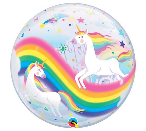 "22"" Birthday Unicorn Bubble Balloon - Front View"
