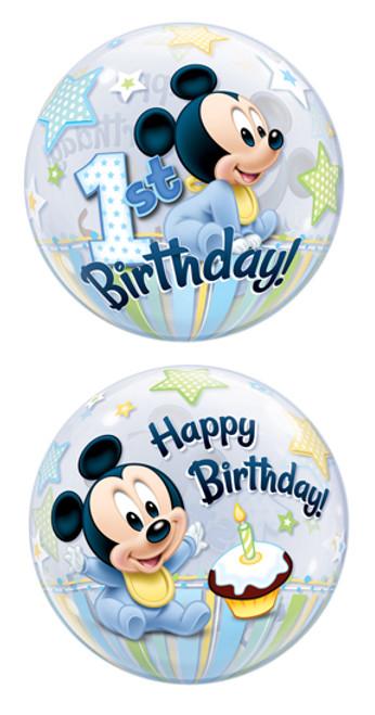 """22"""" Mickey's 1st Birthday Bubble Balloon"""