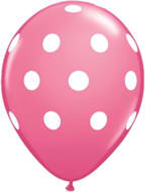 "11"" Big Polka Dots Rose Latex Balloon"