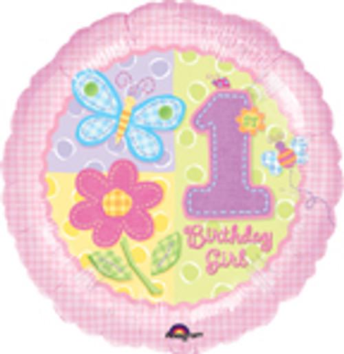 """18"""" Hugs & Stitches 1st Birthday Girl Balloon"""