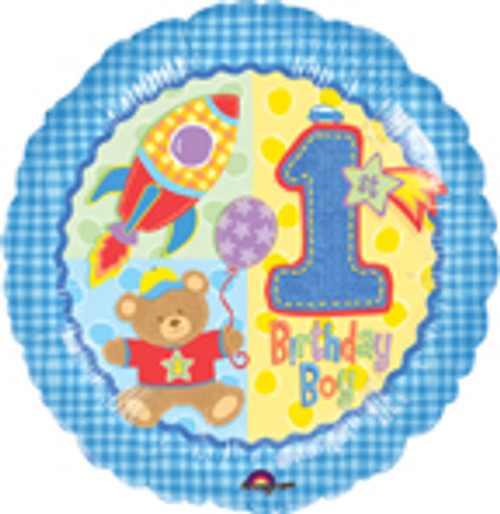 "18"" Hugs & Stitches 1st Birthday Boy Balloon"