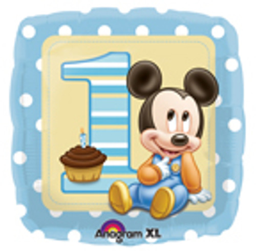 "17"" Mickey 1st Birthday Boy Square Balloon"