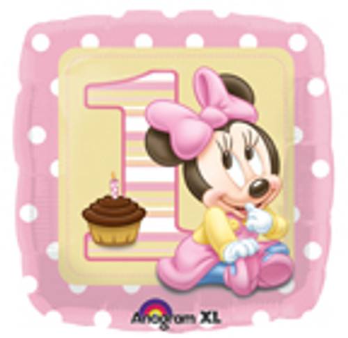 "17"" Minnie 1st Birthday Girl Square Balloon"