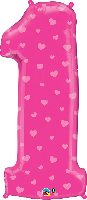 """38"""" Number 1 Pink Hearts Super Shape Balloon"""