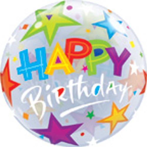 "22"" Happy Birthday Brilliant Stars Bubble Balloon"