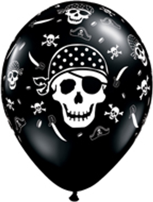 "11"" Pirate Skull & Cross Bones Latex Balloon"