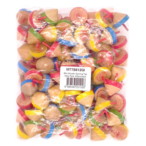 Mini Wooden Spinning Top Value Pack 100pcs/pack