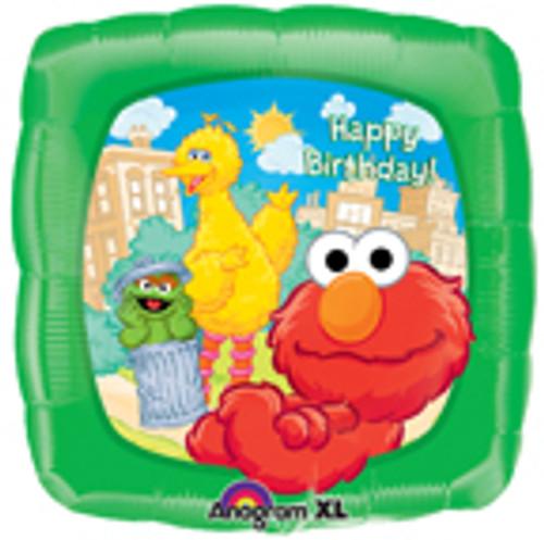 "18"" Elmo & Friends Happy Birthday Square Balloon"