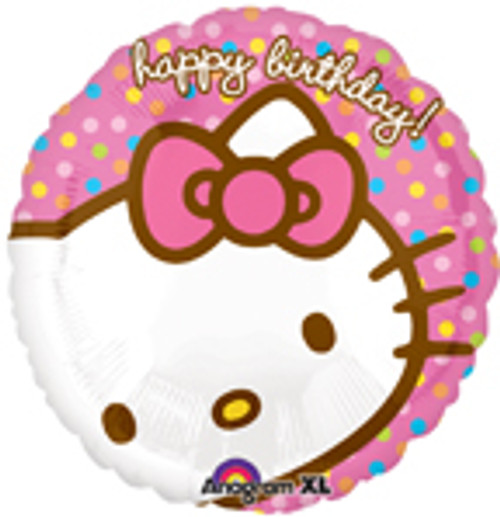 "18"" Hello Kitty Happy Birthday Polka Dot Balloon"