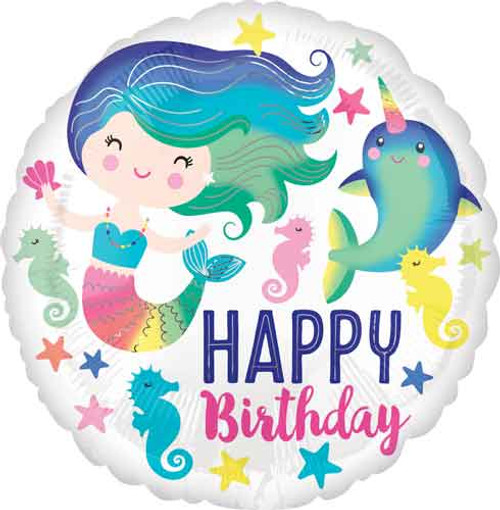"17"" Colorful Ocean Fun Mermaid Birthday Balloon"