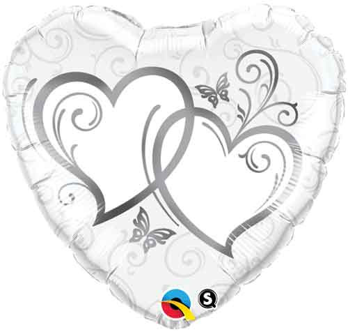 "18"" Entwined Hearts Silver Heart Balloon"