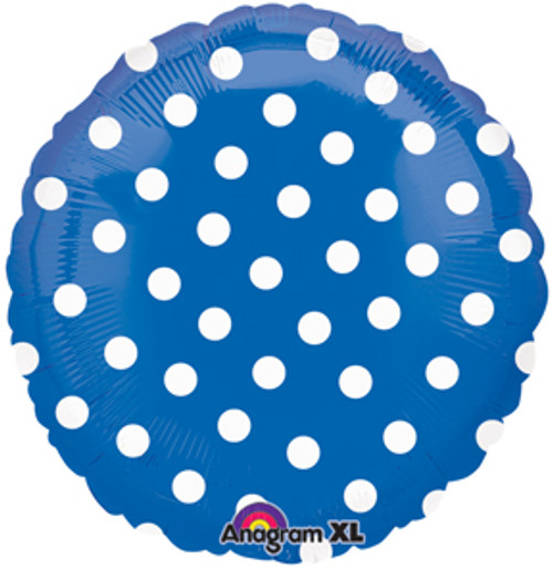 "18"" Blue Polka Dots Foil Balloon"