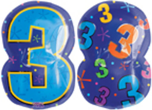 "20"" Number 3 Multi-color Junior Shape Balloon"