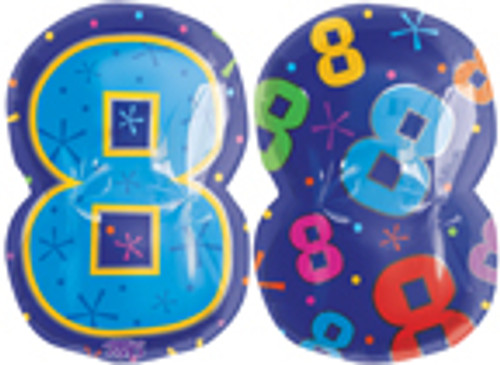 "20"" Number 8 Multi-color Junior Shape Balloon"