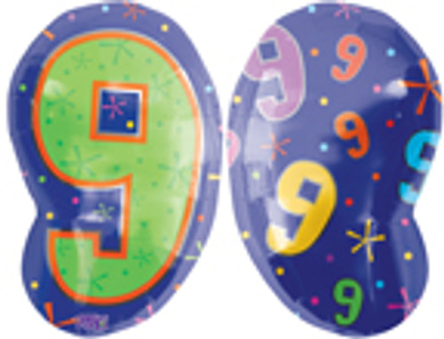 "20"" Number 9 Multi-color Junior Shape Balloon"