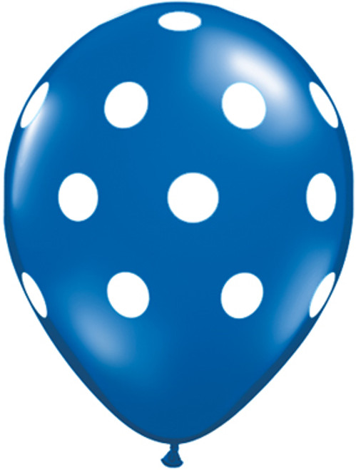 "11"" Big Polka Dots Sapphire Blue Latex Balloon"
