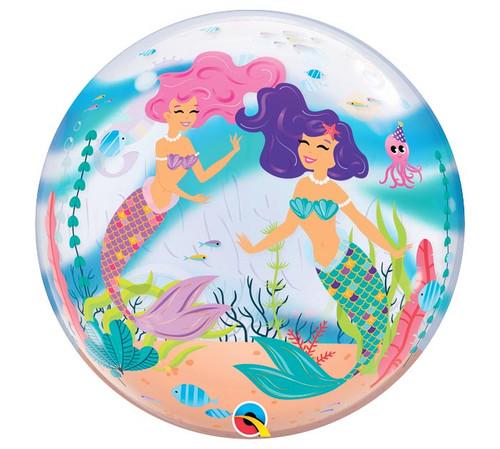 "22"" Birthday Mermaid Bubble Balloon - Front View"