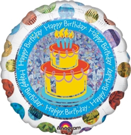 "18"" Polka Dot Birthday Cake Prismatic Balloon"