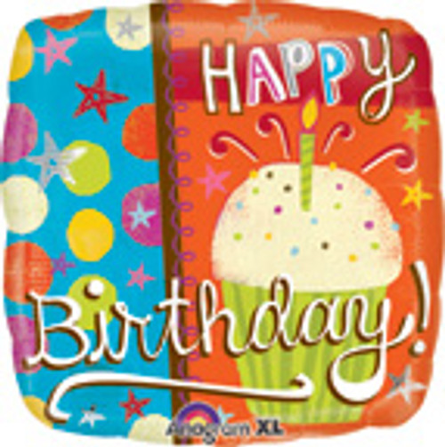 "18"" Happy Birthday Cupcake Square Balloon"
