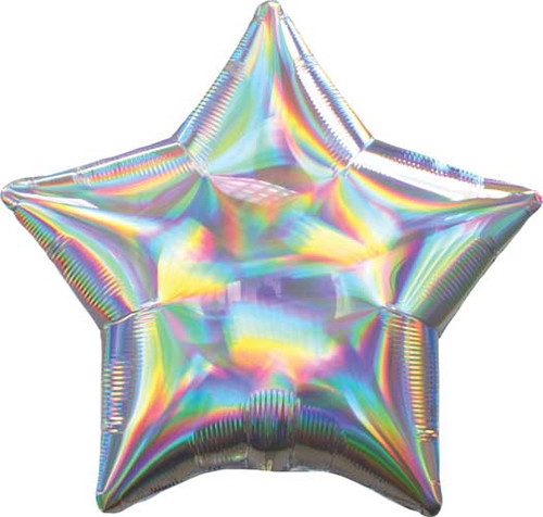"19"" Iridescent Silver Star Foil Balloon"