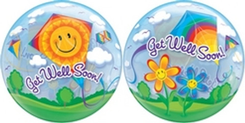 "22"" Get Well Kites Bubble Balloon"